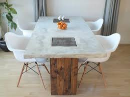 wood and concrete dining table