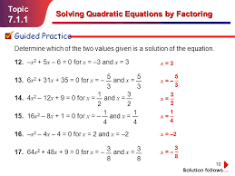 7 1 1 topic solving quadratic equations by factoring guided practice