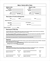Free Motor Vehicle Bill Of Sale Template Magdalene Project Org