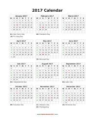 Printable 2017 Calendar Blank Calendar 24 5