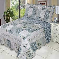 Country Cottage Blue Floral Quilt Coverlet Shams Set | Luxury ... & Country Cottage Blue Floral Patchwork Quilt Coverlet Set Oversized Adamdwight.com