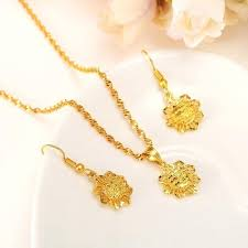 baby gold pendant color set jewelry chain earrings flower jewellery gift for boy singapore baby gold pendant