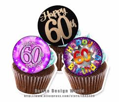 24 60th Birthday Edible Cake Topper Wafer Rice Paper Cake Cookie