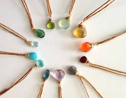 delicate gem necklace semi precious drop dainty pendants on irish linen multicolored bridesmaids birthstone or gemstone necklace tn288