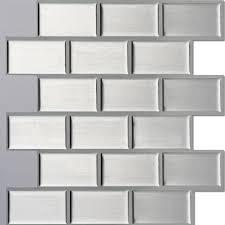 l stick self adhesive wall tile kitchen backsplash silver brick style pack 6