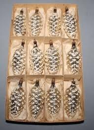 12 Weihnachtsbaum Zapfen Glas Silbern Christbaumschmuck
