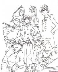 Small Picture All Characters From Soul Eater Coloring Page Japanese Anime