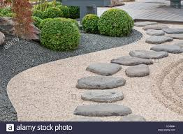 steping stones on gravel pathway in anese garden