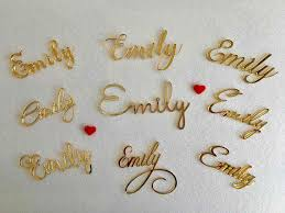 Wedding Name Us 7 04 12 Off Personalized Laser Cut Place Names Wedding Name Tags Gold Acrylic Place Cards Guest Names Wedding Signs Wedding Invitation Table In