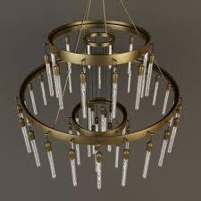 rh axis three tier chandelier 3d model max obj 3