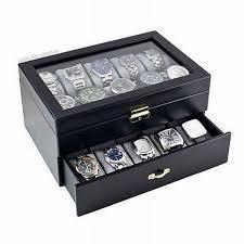 black watch case display jewelry box glass top organizer
