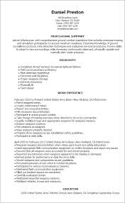 Marine Corps Infantry Resume Examples Resume Example Us Army Address
