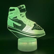 Jordan Shoes With Lights Us 9 99 50 Off Led Night Light Jordan Sneaker Air Force 1 Nightlight Home Luminaria Bright Base Birthday Gift For Kids Child Bedroom 3d Lamp On