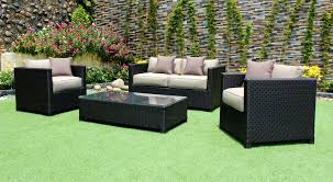 paris outdoor patio wicker sunbrella conversation sofa set  cieux
