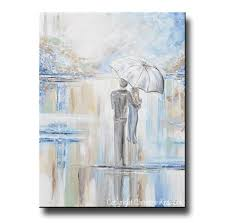 original art abstract painting couple with umbrella romantic walk textured white blue grey x large wall art 40x30  on abstract watercolor wall art with original art abstract painting couple with umbrella romantic walk