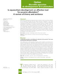 is aquaculture development an effective tool for poverty  is aquaculture development an effective tool for poverty alleviation a review of theory and evidence pdf available