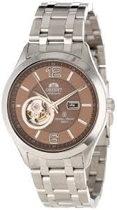 Orient <b>Men</b> s CDB05001T <b>50m</b> Semi Skeleton 21 Jewels Khaki <b>Watch</b>