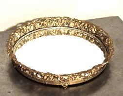 round mirrored vanity tray