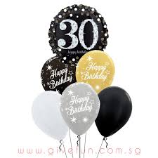 Party Sparkling Happy 30th Birthday Balloons Bouquet