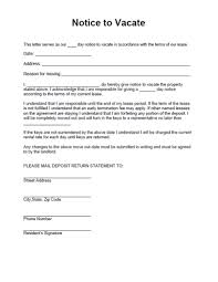 notice to vacate form form for a residential landlord notice notice to vacate property
