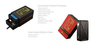 tesla invader iii the starter kit has two drawer compartments containing the mod along all of the extra parts the body package simply includes the mod