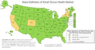 map of state decisions on small group health size 2016 17