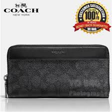 COACH F58112 Men s Signature Accordion Wallet  Charcoal Black