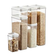 Set of Narrow Stackable Canisters with White Lids ...