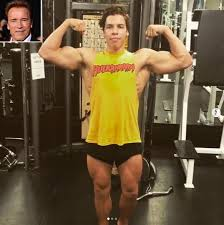 arnold schwarzenegger s son joseph 21 looks just like dad flexing his muscles people