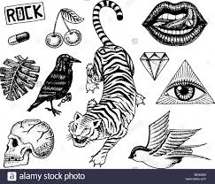 Set Of Fashion Patches Tattoo Artwork For Girls Tiger And Lips