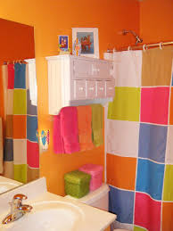 cool shower curtains for kids. Colorful Shower Curtain Idea And Smart Kids Bathroom Decor With Vibrant Orange Wall Paint Plus Modern Storage Cool Curtains For S