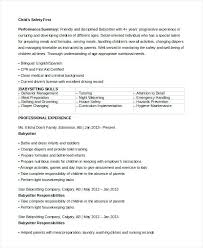 babysitting resume skills sample babysitter 7 examples in word  responsibilities