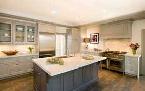 Impressive Painted Kitchen Cabinets Two Colors On A More Lighter Gray Color Than Dark For Concept Design