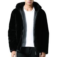 mens faux fur coats fur hooded warm solid color casual black jackets cod