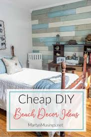 create a soothing coastal bedroom retreat with these inexpensive diy beach decor ideas including a plank
