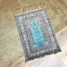 vintage fine silk turkish rug mini rug persian wall tapestry turquoise blue red