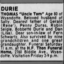 Obituary for THOMAS DURIE (Aged 80) - Newspapers.com
