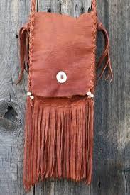 fringed leather purse custom leather cross handbag image