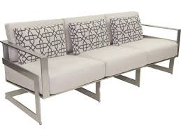 castelle eclipse deep seating cast aluminum cushion sofa with three pillows