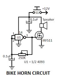 electronic bicycle horn circuit electronic bike horn circuit diagram