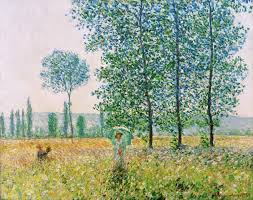 Claude Monet: Fields in Spring. Art Print, Canvas on Stretcher, Framed  Picture