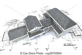 architecture blueprints 3d. Simple Architecture Aerial View Of Expensive House On Blueprints  Csp25753504 And Architecture Blueprints 3d S