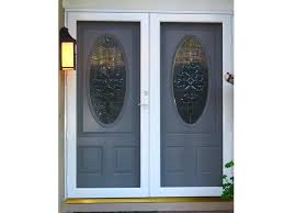provia entry door reviews double screen doors installed in front of double entry door with oval