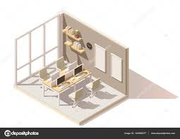 isometric office furniture vector collection. Vector Isometric Low Poly Office Room. Includes Table, Chairs, Other Furniture \u2014 By Tele52 Collection