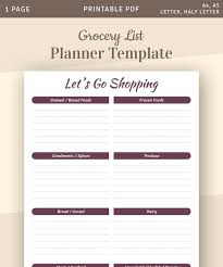 Template For Shopping List Grocery List Planner Template Printable Shopping List Instant Download Printable Pdf