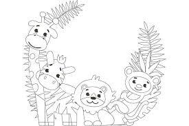 簡単な塗り絵 かわいい動物4匹 無料プリント高齢者の脳トレ