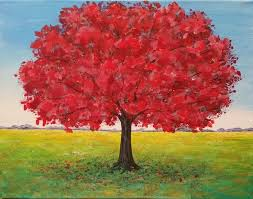 live red oak tree landscape acrylic painting tutorial free lesson