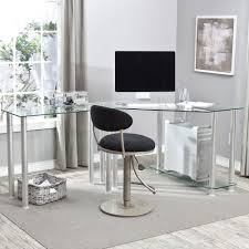 office table with glass top. Glass Top Office Desk Table With L