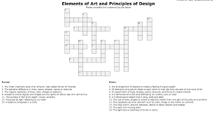 Elements And Principles Of Design Crossword Puzzle Crossword Elements And Principles Of Design