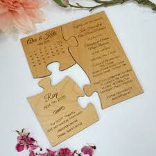 honey brown wooden puzzle wedding invitation three piece puzzle including save the date professionally laser engraved cut